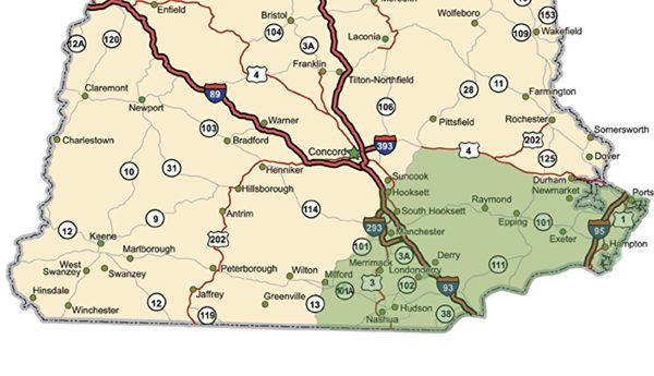 Highway map of the state of New Hampshire with Interstates and US Routes.  It also has many, but not all, state routes (labeled) and many cities on it as well (all county seats, State Capitol and many other cities, but not all).